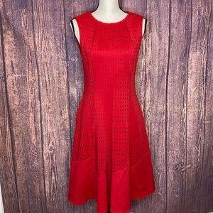 JOSEPH RIBKOFF red laser cut fit flare dress 8